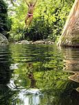 Local do rio onde forma a piscina natural. Acesso para toso os hospedes