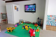 Em nosso salão de jogos, na área de lazer da piscina, há o cantinho da Brinquedoteca.