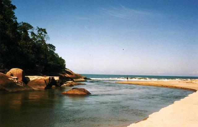 Rio Puruba: Ao fundo encontro com o mar