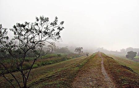 Nevoeiro no Dique, local de caminhadas no centro da cidade