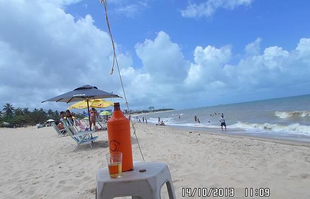 Curtindo a praia de Tamba�,bem tranquila.