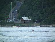 Vista panorâmica da subida da praia brava em Camboriu...