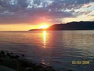 Pôr-do-sol  na saída em Ilhabela