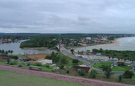 Nova Almeida - Vista panorâmica com o rio e a Praia Grande