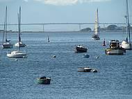 A famosa ponte vista da baía da Guanabara