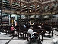 Estudiosos folheando documentos históricos da Biblioteca