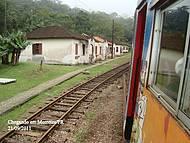 O trem chegando em Morretes