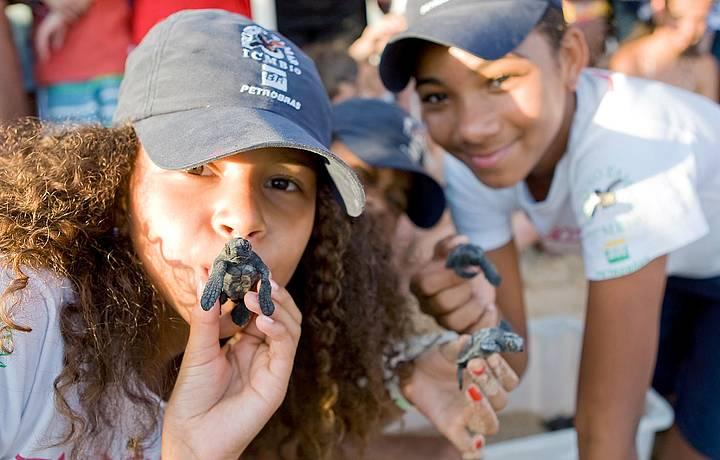 Crianças se encantam com as tartaruguinhas