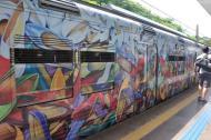Trabalhos da artista colorem os trens da cidade