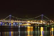 Vista noturna da Ponte Hercílio Luz, que liga a Ilha ao continente !