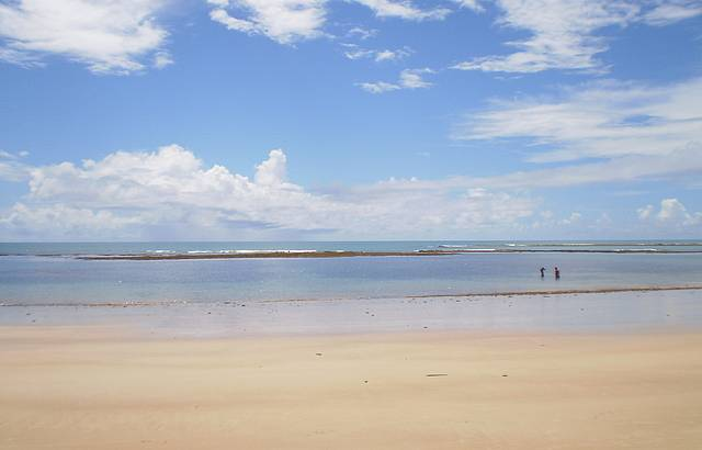Praia pela manhã, na maré baixa