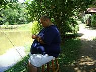 Meu marido pescando na pousada