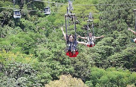 Arvorismo, trenó e ZipRider no Parque Unipraias - ZipRider é garantia de adrenalina