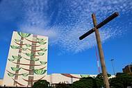 Vista da Praça da Catedral em Cascavel, PR