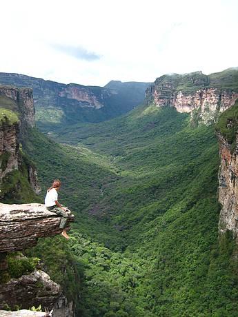 Há 300 m de altura, no canion do Cachoeirão por cima