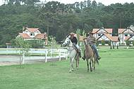 Passeio come�a no haras e segue mata adentro
