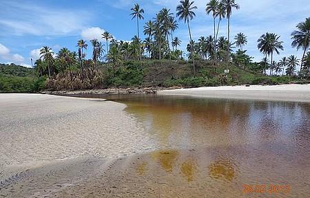 Um rio que atravessa a praia.