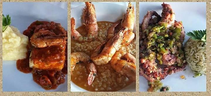 Peixe com molho de camarão, Polvo e Risoto de camarão