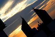 Detalhe do centro de Cascavel, PR, ao por do sol