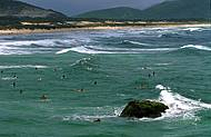 Joaquina tem boas ondas e � point de surfistas e da mo�ada