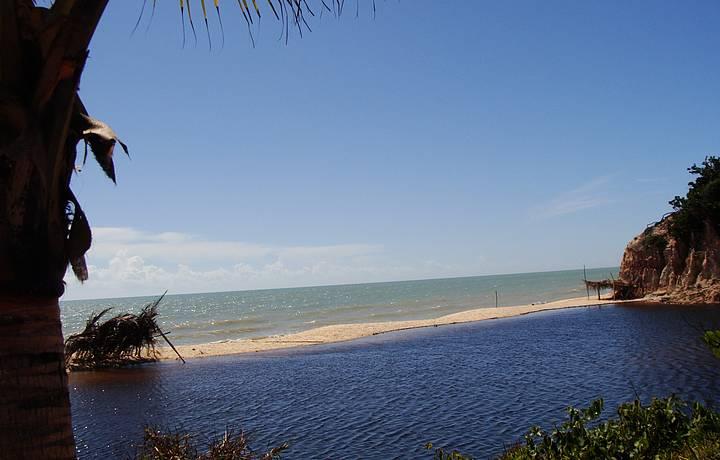 Rio e Mar Se Encontram e Formam um Constraste de Cores