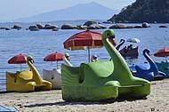 Pedalinhos disponíveis na praia José Bonifácio