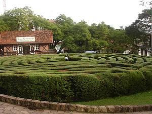 Labirinto Verde: Uma das atrações da Praça das Flores<br>