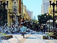 Detalhe da Rua das Flores com chafariz