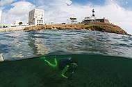 Mergulho acontece bem próximo dos cartões-postais