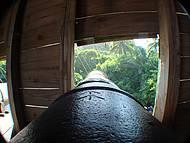Detalhe dos canhões na réplica da nau de Cabral...