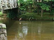 Garotos Nativos Pulam do Alto da Ponte e Mergulham no Rio.