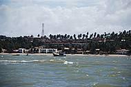 A vista da praia, num passeio de barco.