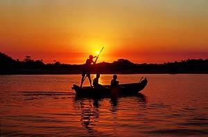 Revoada dos guarás ao pôr do sol: Embarcações rústicas cruzam o rio no fim da tarde -