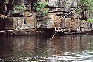 Tirolesa - Atividade é praticada no Rio Cipó