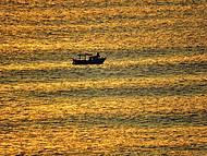 Barco de pescadores ao amanhecer no mar de Balneário Camboriú, SC
