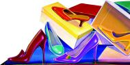 Obras coloridas remetem a sapatos