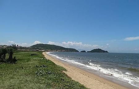 Lindo visual da Praia Rasa com sua vegetação nativa.