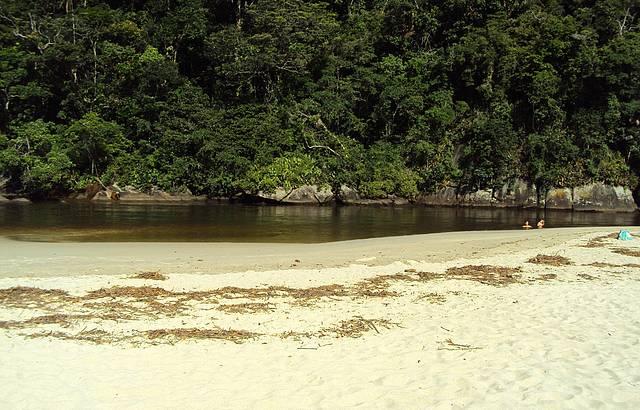 O rio visto da praia
